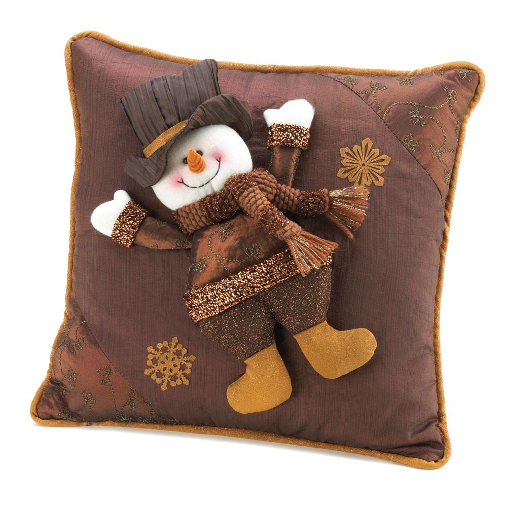 Golden Sparkle Snowman Pillow