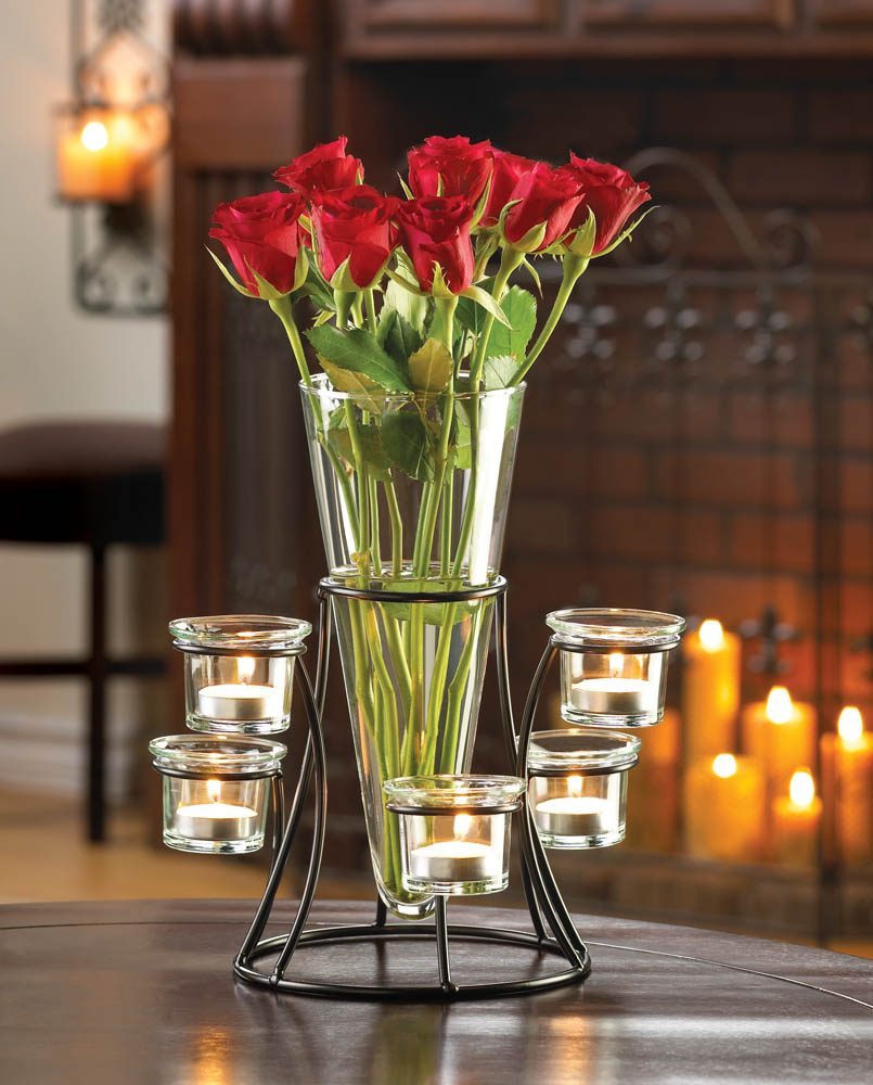 Cicular Candle Stand with Vase