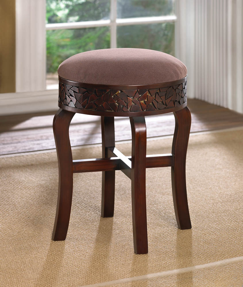 Wooden Mosaic Round Stool
