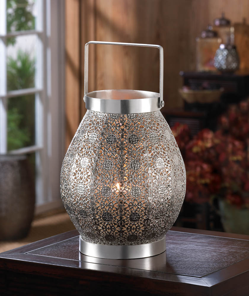 Silver Lace Design Candle Latern