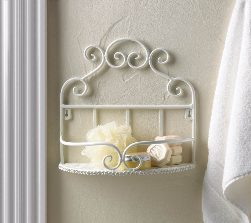 White Scrollwork Wall Shelf