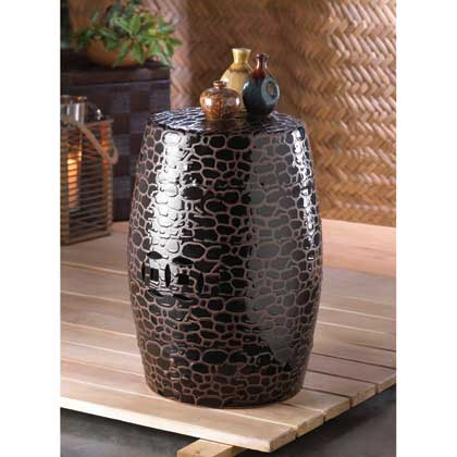 Serpentine Ceramic Decorative Stool