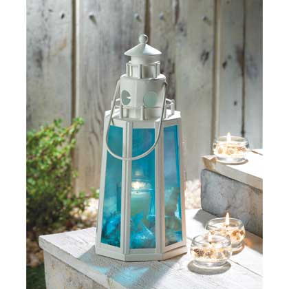 Ocean Blue Lighthouse Lamp Candle