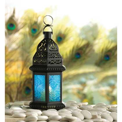 Blue Glass Moroccan-Style Lantern
